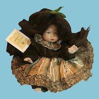 "Circa 1980s 9"" Capodimonte Costumed Italian Porcelain Doll"
