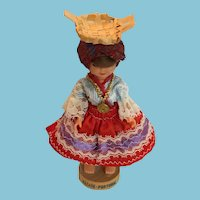 Circa 1960s Peasant Doll in Traditional Costume from Portugal