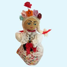 Circa 1960s Wooden Dowel Doll in Traditional Costume from Hungary