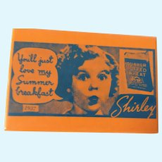 'Quaker Puffed Wheat' Advertising Shirley Temple Pocket Mirror