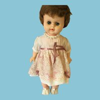 1960s Reliable Vinyl Sweet Sue Doll with Curly Brown Hair