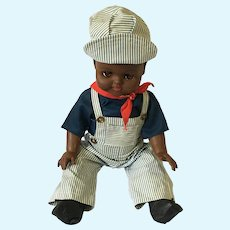 "Circa 50s - 60s 20"" Black Vinyl Train Engineer Reliable Boy Doll"
