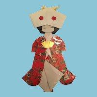 "Circa 1980s 8 1/2"" Japanese Bride Origami Paper Doll"