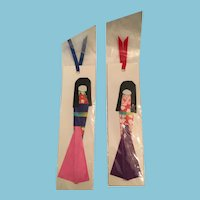 Pair of Circa 1980s Signed Japanese Geisha Origami Paper Doll Bookmarks