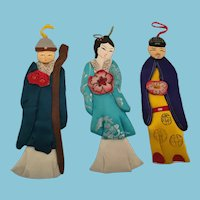 Three Circa 1980s -90s Christmas China Silk Paper Doll Ornaments