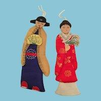 Two Circa 1990s Bejing Opera Silk Paper Doll Ornaments