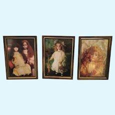 Circa 1983 Set of Three 'Tom Kelly' Framed Famous Doll Prints