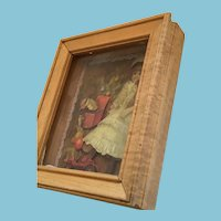 Circa 1960s Doll and Jack-in-box Decoupage in a Shadow Box