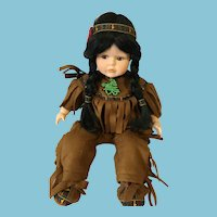 "14"" Sitting Porcelain Native American Doll of 'The Broadway Collection'"