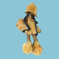 """1970s 18"""" Hand-Made Woven Basket Doll from Grand Bahama Island"""