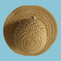 Soft Plastic Wide-Brimmed 'Straw' Hat for dolly