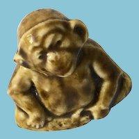 Circa 1970s -80s Tiny 'Wade Whimsies' Green Glazed Porcelain Chimpanzee