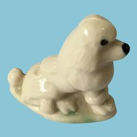 Miniature 'Wade Whimsies' Highly Collectible Glazed Porcelain Poodle Dog