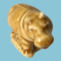 Miniature 'Wade Whimsies' Honey Brown Glazed Porcelain Hippo