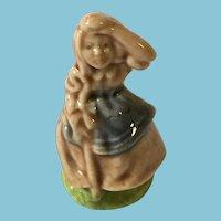 Miniature 'Wade Whimsies' Nursery Rhyme 'Little Bow Peep' Glazed Porcelain Figurine