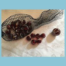 Vintage set of 25 M-I-Bag Striped Translucent Red Slag Marbles