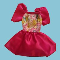 Fashion Doll Fuschia Bell Sleeve Satin Dress and Ribbon Panties