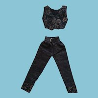 Fashion Doll Two Piece Blue Jeans and Matching Patterned Vest