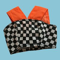 Fashion Doll Orange and Car Race-Track Black and White Checked Sun Top