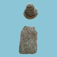 Fashion Doll Blue-Gray Hand-Knit Pencil Skirt and Matching Bowler Hat