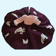 Fashion Doll Hand-made, Lace Embellished Dress and Crinoline