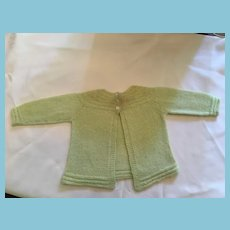 Mint Green Hand-Knit Cardigan Dolly Sweater