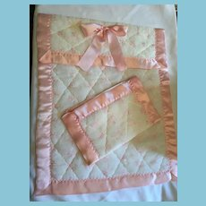 Set of Pink and White Satin Dolly Quilt and Pillow Case