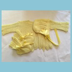 Buttercup Yellow Hand-Knit Sweater, Bonnet and Bootie Set