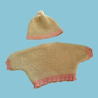 'Tough Gal' Hand-knit White and Pink Pullover and Hat