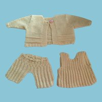 Three Piece Dolly Hand-knit Cardigan, Top, and Pants Set