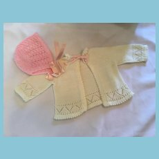 Hand-knit Soft White and Pink Sweater Bonnet Set