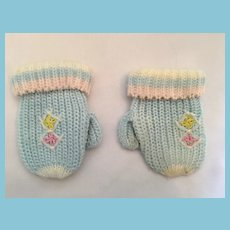 Pair of Blue Acrylic Fiber Dolly Mittens Marked Mig Tab