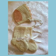 Hand-knit White and Peach-Colored Dolly Ruffled Bonnet with White Booties