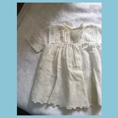 Circa 1910s -20s Lace and Embroidery Trimmed White Hanky Cotton Dolly Dress