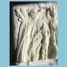 Circa 1910s -20s Hand-made Gossamer White Hanky Cotton Dolly Dress
