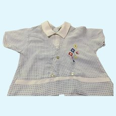 Circa 1950s White and Blue Shirt with Colorful Kite Embroidery