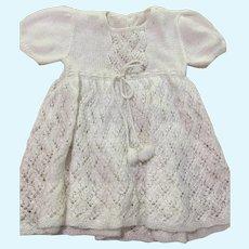 Circa 1950s Beautifully Hand-knit White Wool Dolly Dress