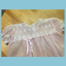 Circa 1950s 'Chantilly' Lace Embellished Pink Organdy Dress
