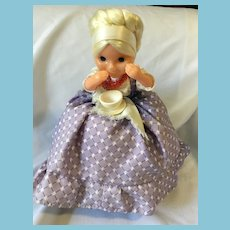 Circa 1950s Russian Cloth Tea Cozy Soft Plastic Grannie Doll