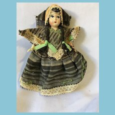 "Circa 1950s Greek  6 1/4"" Mixed Media Costume Doll"