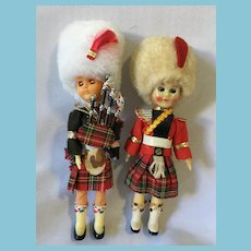 "Circa 1950s-60s Pair of  6 1/2"" Hard Plastic Scottish Costume Dolls"