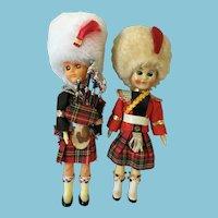 """Circa 1950s-60s Pair of  6 1/2"""" Hard Plastic Scottish Costume Dolls"""