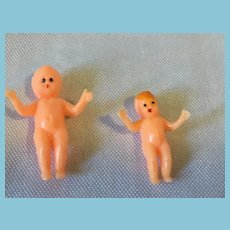 "Circa 1980s Pair of 1 1/4"" and 1"" Hard Plastic Dollhouse Baby Dolls"