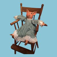 "Artist-made 22"" Porcelain Piggy Doll in Green Gingham"