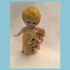 """1920s 4"""" Bisque Bride Doll Made in Japan"""