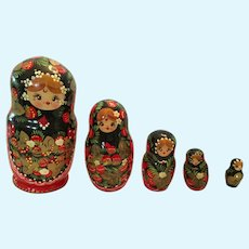"""6 1/2"""" Set of Five Brightly Colored Signed Russian Matryoshka dolls"""
