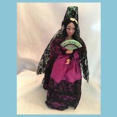 "Spanish lady 12"" Hard Plastic Souvenir Doll"