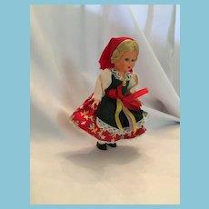 German Girl Hard Plastic Souvenir Doll in Traditional Folk Costume