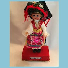 Vintage Hard Plastic Souvenir Doll in Traditional Costume from Minho, Portugal