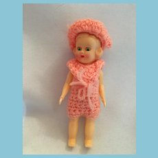 """vintage 4 1/2""""  Girl Doll with Blue Sleep Eyes and Molded Curly Hair"""